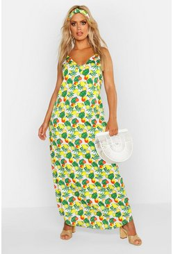 Womens White Plus Woven V Neck Fruit Maxi Dress With Headscarf