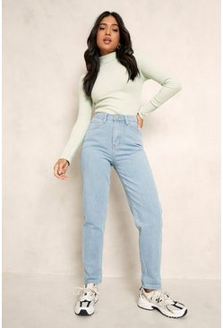 Womens Light blue Petite High Rise Mom Jean