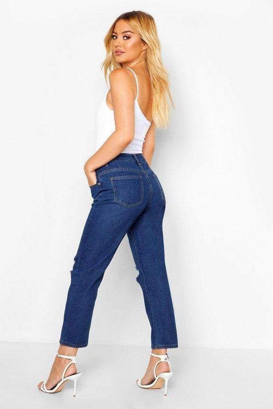 Petite High Rise Distressed Straight Leg Jean