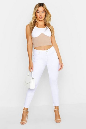 Womens White Petite High Rise Skinny Jean
