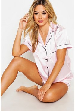 Womens Pink Petite Satin PJ Short Set With Contrast Piping