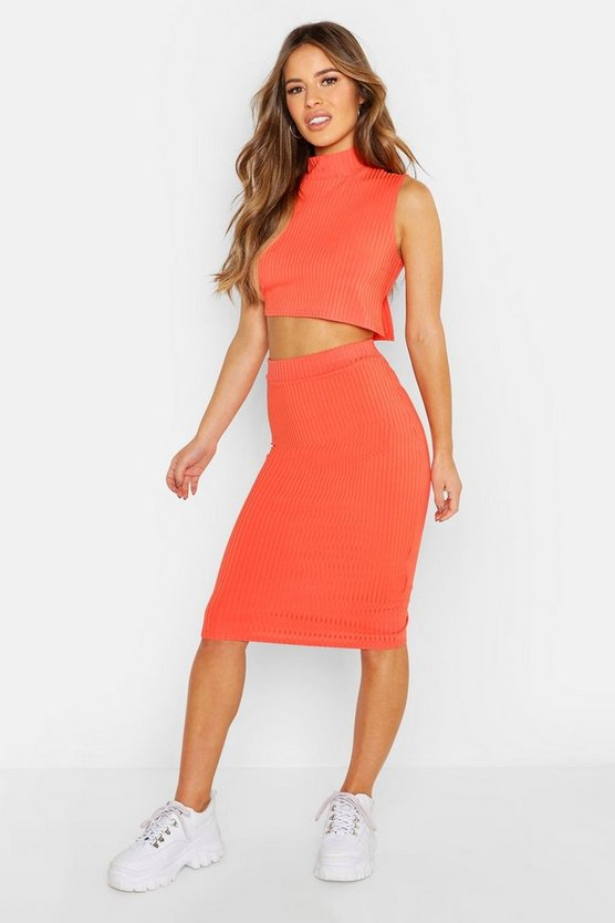 Womens Coral Petite High Neck Side Split Midi Skirt Co-ord