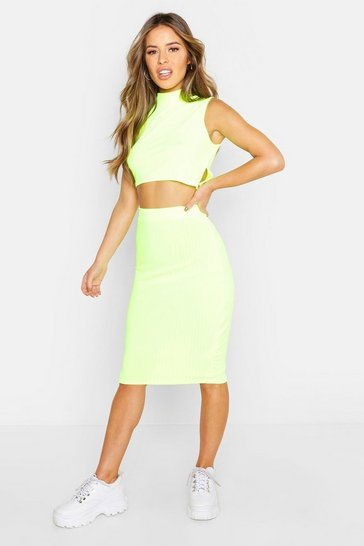 Womens Lime Petite High Neck Side Split Midi Skirt Co-ord