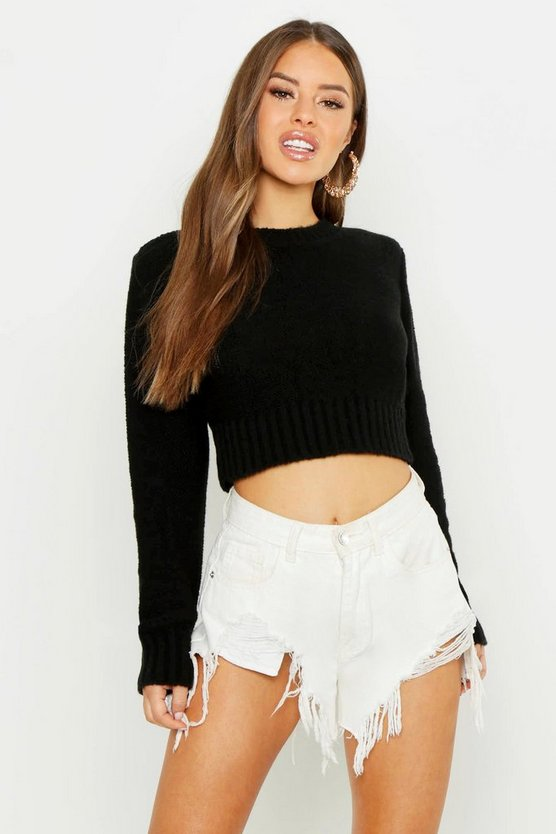 Black Petite Textured Cropped Long Sleeve Jumper