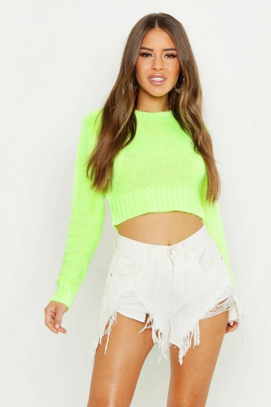 Womens Lime Petite Textured Cropped Long Sleeve Jumper