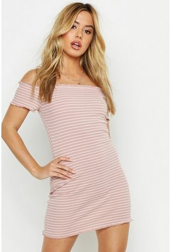 Womens Dusky pink Petite Rib Stripe Lettuce Hem Bardot Mini Dress
