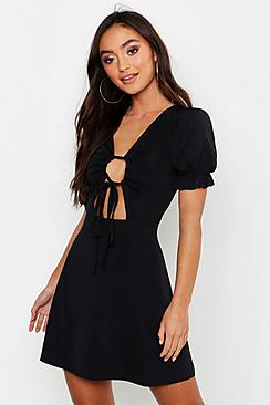 Petite Rib Ruched Front Puff Sleeve Skater Dress