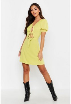Womens Chartreuse Petite Rib Ruched Front Puff Sleeve Skater Dress