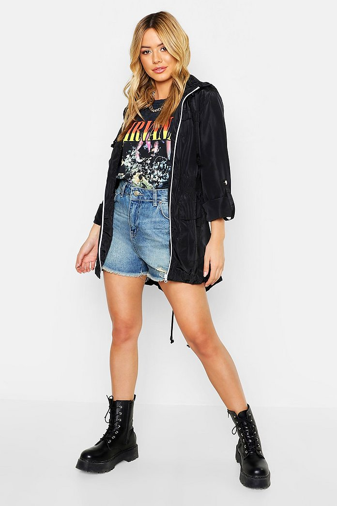 low priced best selection of hot-selling Petite Hooded Festival Rain Mac | Boohoo