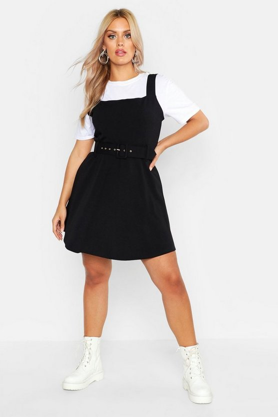 Womens Black Plus Tailored Self Belt Skater Dress