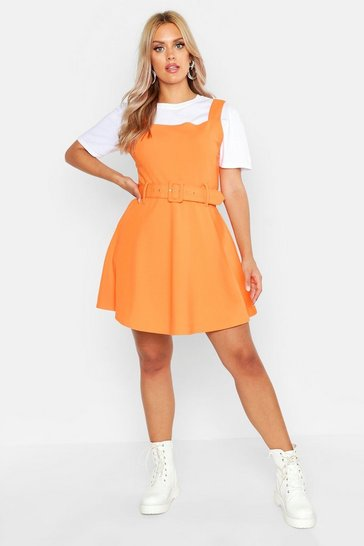 Womens Tangerine Plus Tailored Self Belt Skater Dress