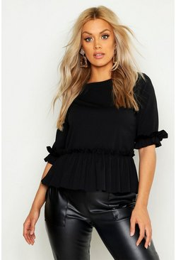 Womens Black Plus Ruffle Sleeve and Hem Peplum Top