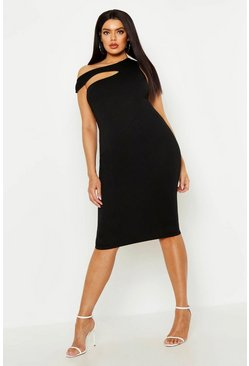 Womens Black Plus Cut Out one Shoulder Midi Dress