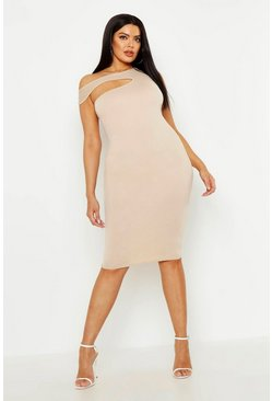 Womens Stone Plus Cut Out one Shoulder Midi Dress