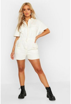 White Plus Short Sleeve Denim Playsuit