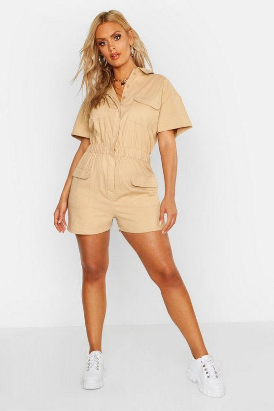Womens Camel Plus Denim Short Sleeved Utility Playsuit