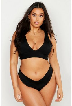 Womens Black Plus High Rise Plunge Bikini Set