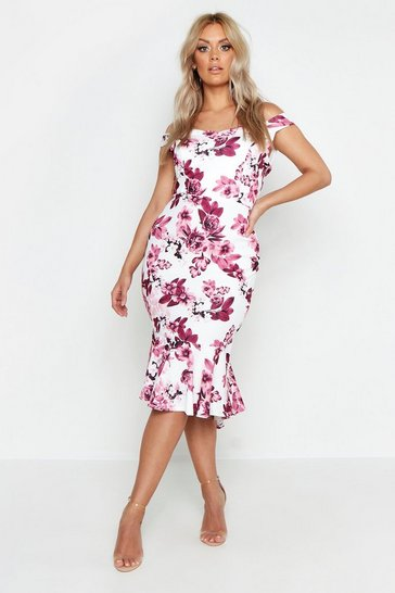 Womens Blush Plus Floral Bardot Fishtail Ruffle Midi Dress