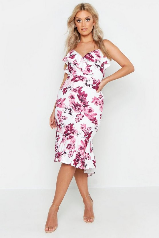 Womens Blush Plus Floral Ruffle Wrap Midi Dress