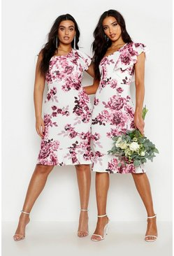 Womens Blush Plus One Shoulder Floral Ruffle Midi Dress