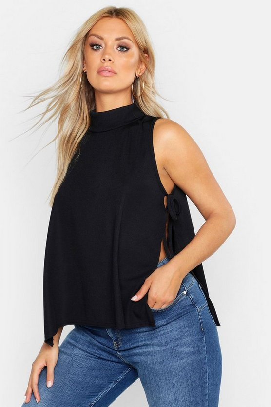 Womens Black Plus Rib High Neck Tie Side Vest Top