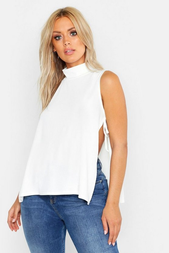 Womens White Plus Rib High Neck Tie Side Vest Top