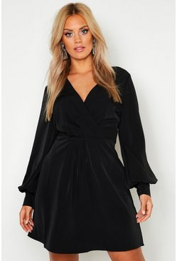 Womens Black Plus Wrap Balloon Sleeve Skater Dress