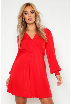 Red Plus Wrap Balloon Sleeve Skater Dress