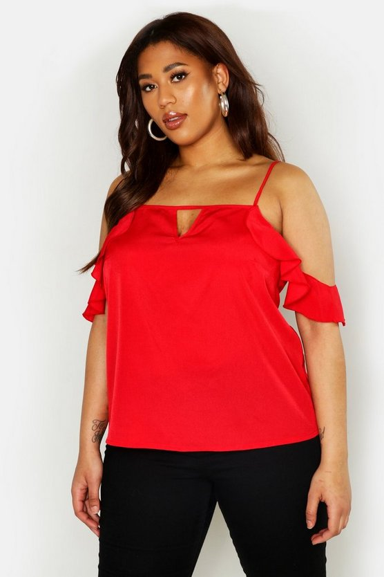 Red Plus Ruffle Cold Shoulder Top