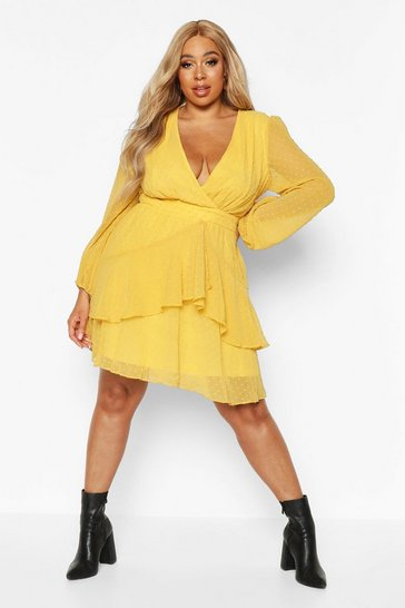 Mustard Plus Ruffle Hem Dobby Mesh Skater Dress