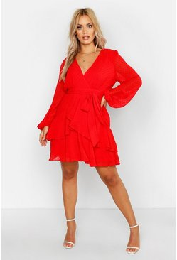 Womens Red Plus Ruffle Hem Dobby Mesh Skater Dress