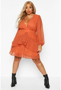 Womens Terracotta Plus Ruffle Hem Dobby Mesh Skater Dress
