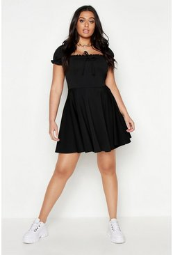 Womens Black Plus Bardot Frill Edge Skater Dress