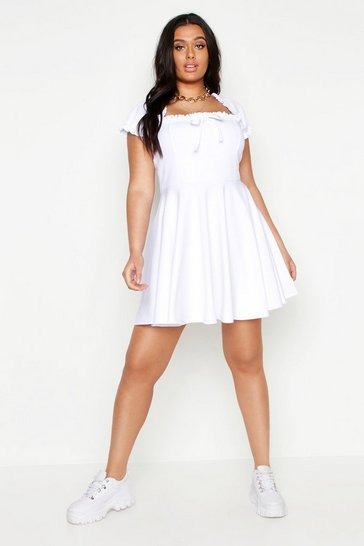 Womens White Plus Bardot Frill Edge Skater Dress