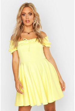 Womens Yellow Plus Bardot Frill Edge Skater Dress