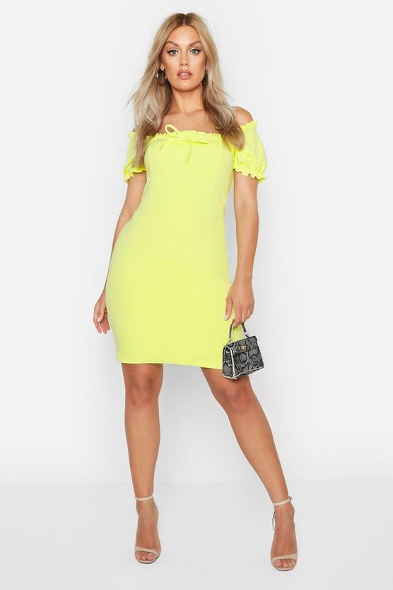 Womens Neon-lime Plus Bardot Frill Edge Bodycon