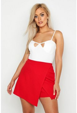 Womens Red Plus Cross Over Split Skort