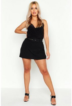 Womens Black Plus Tailored Self Belt Skort