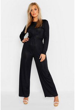 Womens Black Plus Rib Twist Front Long Sleeve Wide Leg Jumpsuit