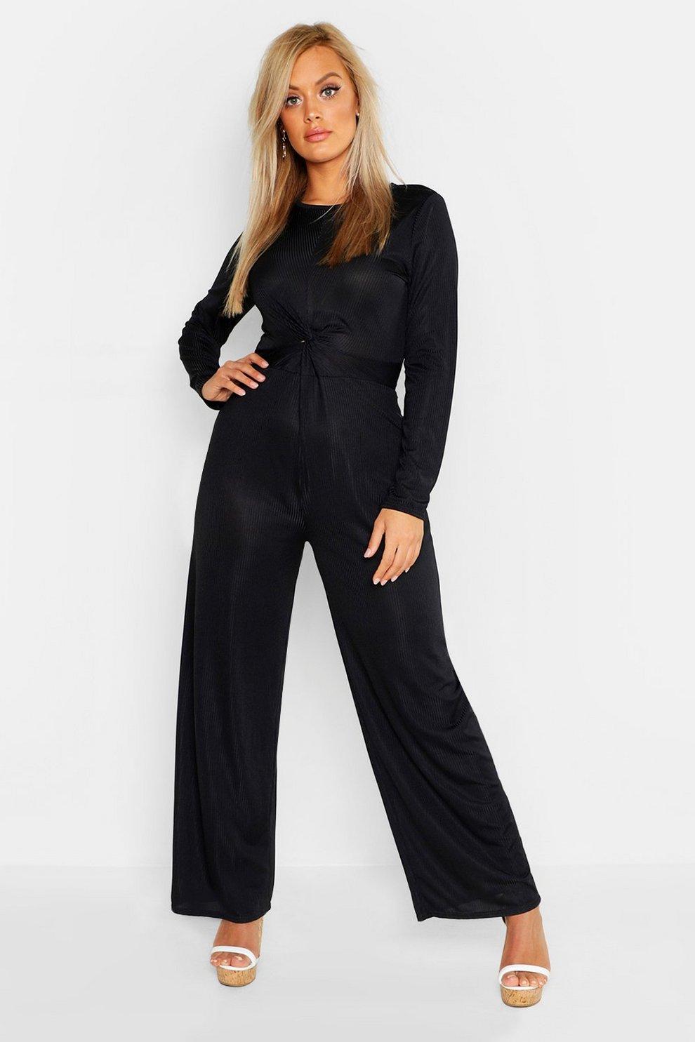 2c87a37f0f84 Womens Black Plus Rib Twist Front Long Sleeve Wide Leg Jumpsuit