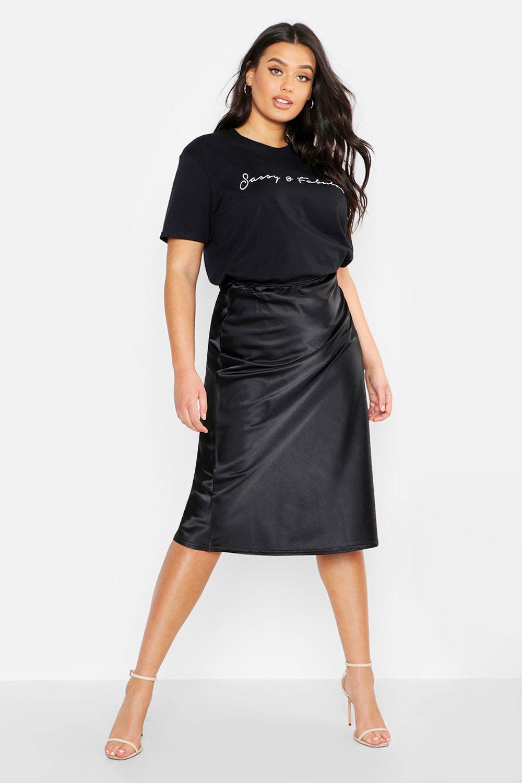 Plus Satin Midi Skirt