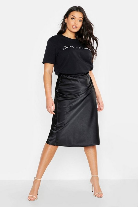 Womens Black Plus Satin Midi Skirt