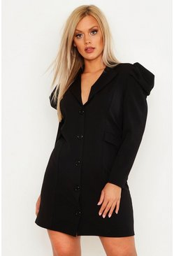 Womens Black Plus Ruched Puff Sleeve Blazer Dress
