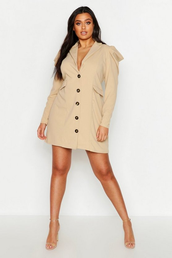 Womens Stone Plus Ruched Puff Sleeve Blazer Dress