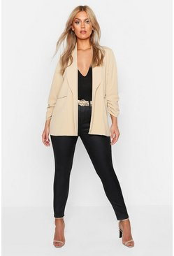 Womens Stone Plus Lapel Detail Ruched Sleeve Blazer