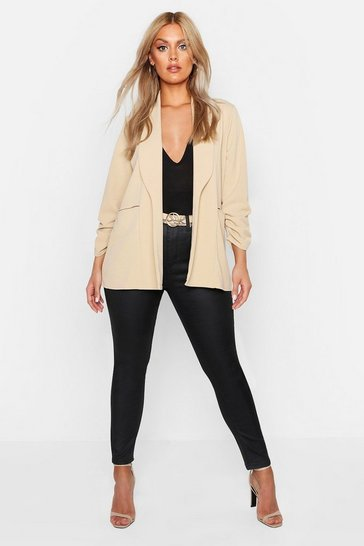 Stone Plus Lapel Detail Ruched Sleeve Blazer