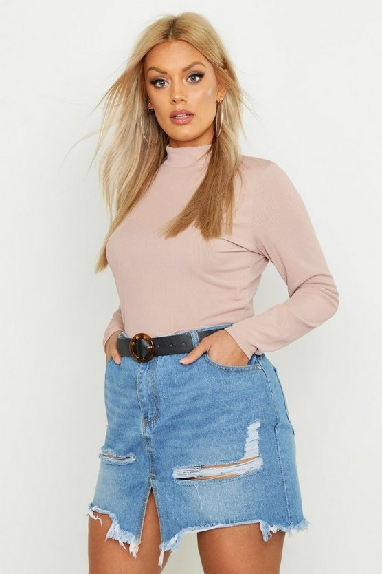 Womens Stone Plus Basic Rib High Neck Long Sleeved Crop Top