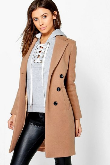 Womens Petite  Double Breasted Camel Duster Coat