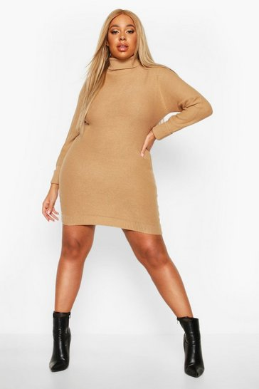 Camel Plus Rib Knit Roll Neck Jumper Dress