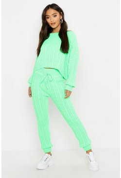 Womens Green Petite Neon Cable Knit Lounge Set